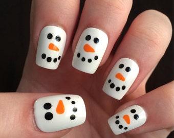 Snowman nails, fake nails, press on nails, holiday nails, winter nails
