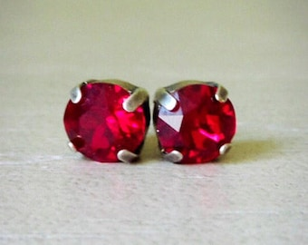 SALE Swarovski Red Crystal, Antique Silver Stud Earrings, Red Stud Earrings, Shiny Red earrings