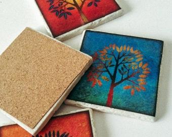 Tree Coasters -  Enchanted Trees - Natural Stone - Home Decor - Garden Coasters - Set of 4