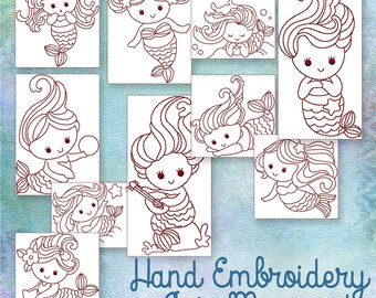 SALE Hand Embroidery Patterns Redwork Designs Cute Mermaids in 4 Sizes PDF Instant Download