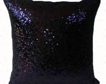 Midnight  blue  sequin pillow. Decorative glitter pillow. sparkly pillow. elegant throw  pillow cover. Event pillow 18x18 inches 20 % off.