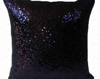Coussin de paillette bleu nuit. Coussin paillettes décoratives. coussin brillant. Housse de coussin élégant. Événement coussin de 18 x 18 pouces 20 % off.