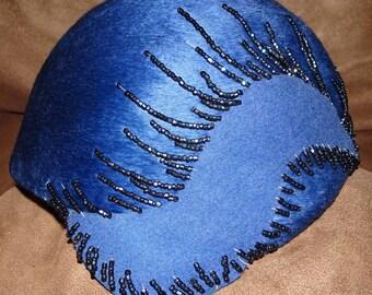 Schiaparelli Cloche Electric Blue Vintage 1920's flapper style hat