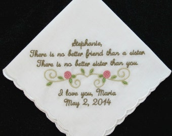 Embroidered Wedding Handkerchief for the Sister of the Bride
