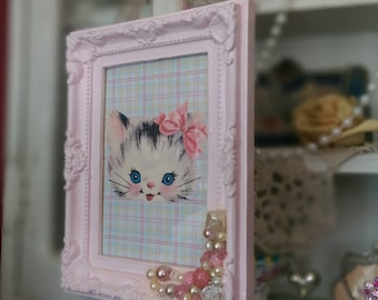 BETSY the KITTY CAT Retro Vintage Kitten Framed Shabby Chic Ornate Embellished Pink Frame Nursery Little Girl Home Kitschy Kitsch Decor Gift