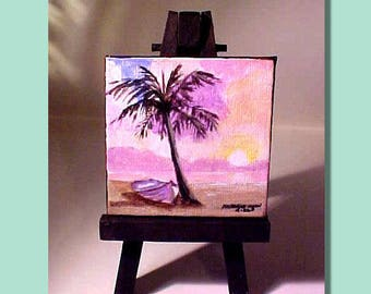 Original Miniature Art with Display Easel - Mini Palm tree, Boat, Beach, Ocean, Sky - by Patricia Ann Rizzo