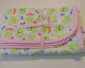 Handmade Baby Receiving Blanket Flannel Baby Blanket Frog Tu Tu Ballerina Fabric - New Ready to ship