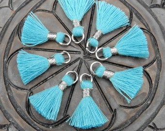 Tiny Tassel Pendant-- Teal Colored Tassel Pendant with Silver Tone Bail - (S36B24-07)