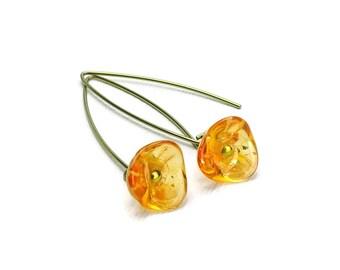 Gold-color Niobium Earrings Orange Flowers, Sunshine Honey Czech Glass Flowers on Hypoallergenic Niobium Arched Earwires, Gold Niobium