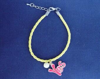Yellow leatherette braided cord bracelet