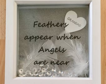 Feathers Appear When Angels Are Near Personalised Memorial Frame