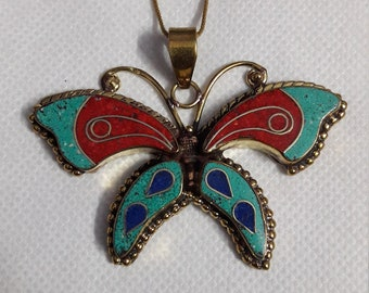 Handmade Solid Yellow Brass Beautiful Colourful Butterfly Pendant With Brass Chain And Colour String
