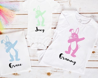 Easter Family Shirts, Easter Sibling Shirts, Dabbing Bunny Shirt, Funny Easter Shirt, Funny TShirt, Bunny Shirts, Personalized Easter Shirt