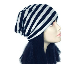 FREE SHIPPING/Custom Sizes Black and Gray Cotton Slouchy Hat Lightweight Slouchy Beanie Black and Light Grey Slouch Hat Men's Slouch Hat