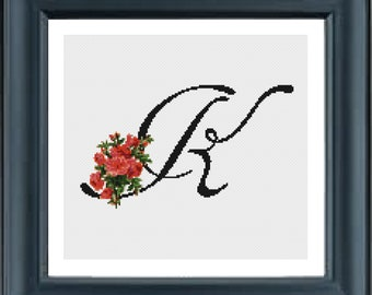 Cross Stitch PDF Pattern Initial K needlepoint embroidery plastic canvas counted cross stitch pattern Initial Letter art