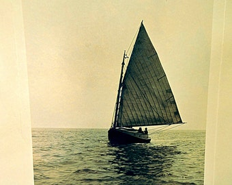 1936 Nautical Photograph Black and White Photo Large Sail Boat Under Full Sail Eastman Kodak Large Format Photo