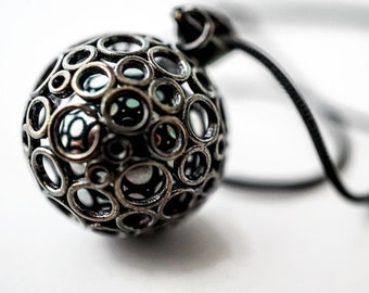 Unique Sterling Silver Harmony Ball, black Harmony Ball, Mexican Bola Ball, Caged Harmony Ball