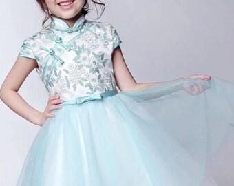 Light Green Mint Cheongsam Tutu Dress for Kids Chinese New Year