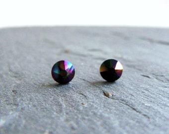 Black crystal stud earrings, Swarovski post earrings, iridescent Rainbow Dark Swarovski, surgical steel earrings, 5mm studs, small earrings