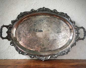 Vintage Silver Tray, Silver-Plated Serving Platter, Oval Platter, HEAVY