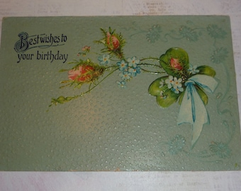 Best Wishes to Your Birthday Pink Roses and Forget-me-nots   Unused Antique Postcard