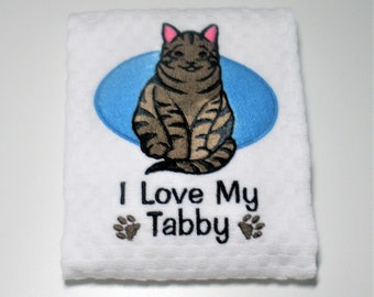 "Tabby Cat, Tabby Gift, Tabby Owner Gift, Kitchen Towel, Dish Towel, Hostess, Birthday, Cat Lover, Cat Owner Gift, Tabby Cat Decor  ""Tabby"""