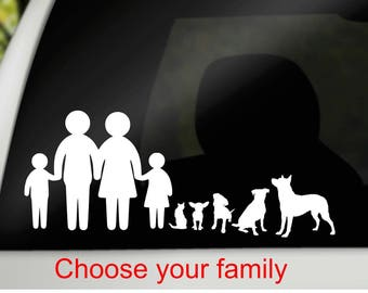 Car family decal, family & pet decal, family pet decal, personalized car decal, family car decal, car window decal, car window cling