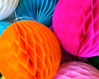 Orange 16 Inch Honeycomb Tissue Paper Balls - Paper Party Decor Decoration Supplies