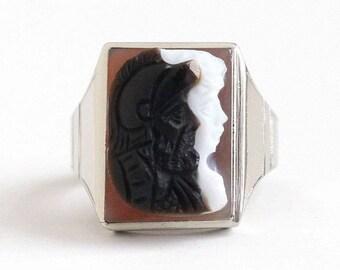 Sale - Antique Sardonyx Ring - Art Deco Size 9 1/2 10k White Gold - Roman Warrior Soldier & Lady Cameo Brown White Gem Men's Fine Jewelry