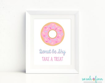 Donut Party Sign, Donut Birthday Sign, Donut Party Decorations, Take a Treat Sign, Donuts Doughnuts, DIY Instant Download, Table Sign