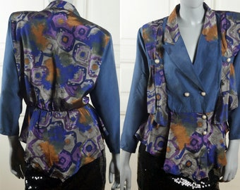 1980s Silk Blouse, Italian Vintage Silk Top w Blue Silvery Gray Bronze Abstract Pattern and Large Silver & Pearl Buttons: 12/14 US, 16/18 UK