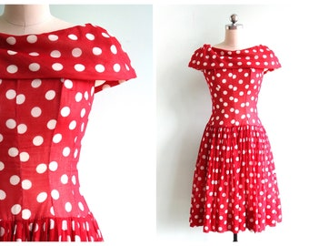 Vintage 1950's Red and White Polka Dot Dress | Size Extra Small