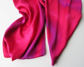 Red Silk Scarf, Hand Painted Red Silk Scarf, Purple Silk Scarf, Hand Painted Silk Scarf, Red Scarf, Purple Scarf, Large Silk Scarf