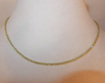 Beaded Peridot Necklace, Tiny Beaded Peridot Necklace, Romantic Peridot Necklace, August Birthstone Necklace, Sparkly Peridot Necklace
