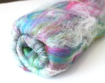 Carded Batt - Naughty Neon Nylon -  Fine Merino Wool and Nylon Blend Spin your own Sock Yarn 100g