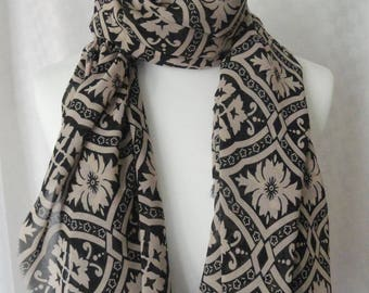 Black and beige print scarf, Print scarf, Scarf for her, Lightweight scarf, Fashion scarf, Shawl