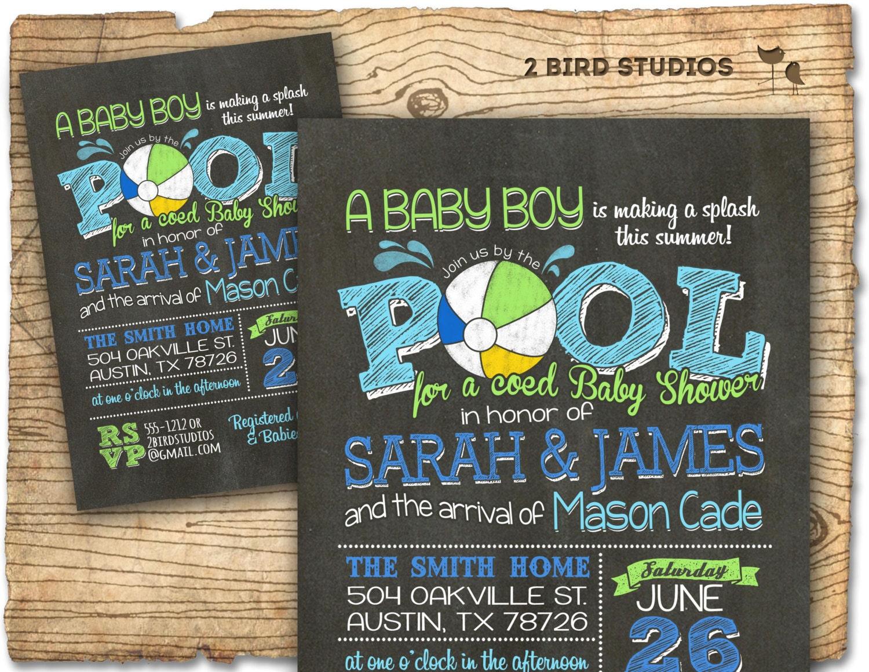 Coed baby shower invitation Summer baby shower Pool