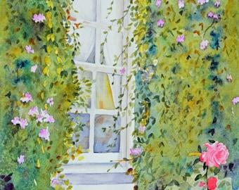 Original watercolor painting roses fine art painting original painting gift ideas window paintings original watercolor landscape garden