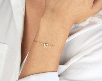 Initial Bracelet B4 • Personalized Bracelet, Monogram Bracelet, Initial Bracelet, Gold Bracelet, Gift For Her, Bridesmaids Gift,
