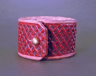 Ornate Hand Tooled Leather Cuff with Sam Browne Button Stud - Blood Red