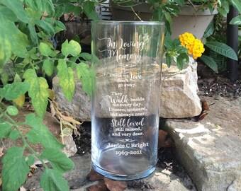 Personalized Memorial Vases - In Loving Memory Vase -Floating Wedding Memorial Candle - Memorial Candle - Engraved Memorial Cylinder