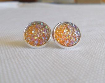 Druzy Studs, Sparkle Earrrings, Faux Druzy Earrings, Stud Earrings, Gold Sparkle Studs, Post Earrings, Druzy Jewelry, Yellow Druzy Earrings