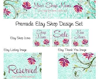 Shop Banner Set, Etsy Cover Photo Set, Tropical Etsy Banner, Damask Shop Banner, Turquoise Shop Banner, Floral Etsy Banner, Vine Etsy Banner