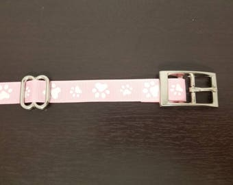 "3/4"" Pink Paws Dog Collar"