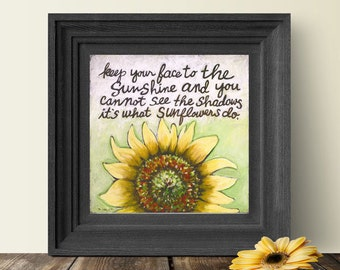 Sunflowers, Sunflower Quote, Helen Keller Quote, Gift for Her, Sunflowers Art, Gift for Mom, Inspirational Quote, Sunflower Art, Wall Prints