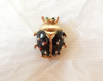 Vintage Bug Beetle Ladybug Pin Brooch Gold & Black Carapace
