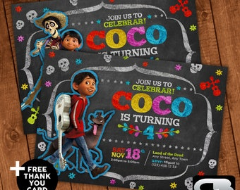Coco Invitation with Free Thank You Card - Coco Invite - Coco Invitation - Coco Birthday Party - Digital File Download