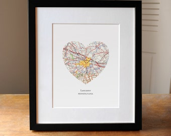 Lancaster PA Heart Map Print, Lancaster Pennsylvania Map Art, PA Map Gift, Heart Map Print, Gift for Friend, Anniversary gift