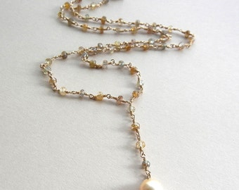 Sapphire and Pearl Mena Necklace