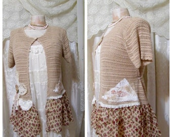 Mori Girl Sweater, tan crochet sweater, refashioned ruffle chiffon hemline, doily lace embellished, MEDIUM